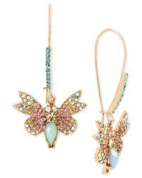 Betsey Johnson | Metallic Gold-tone Multi-crystal Butterfly Drop Earrings | Lyst