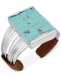 Robert Lee Morris | Metallic Silver-tone Blue Stone Suede Wrapped Cuff Bracelet | Lyst