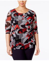 Alfani - Plus Size Tiered Printed Mesh Top - Lyst