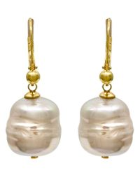Majorica | Metallic 18k Gold Over Sterling Silver Earrings, Organic Man-made Baroque Pearl Drop | Lyst