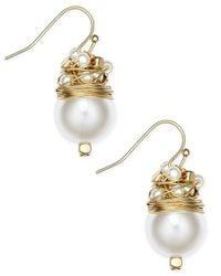 INC International Concepts - Metallic Gold-tone Imitation Pearl Wire Wrap Drop Earrings - Lyst