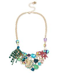 Betsey Johnson | Multicolor Gold-tone Mixed Stone Sea Motif Statement Necklace | Lyst