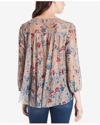 Vintage America - Multicolor Printed Lace-trimmed Top - Lyst