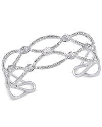 Danori | Metallic Silver-tone Pavé Crystal Openwork Cuff Bracelet | Lyst