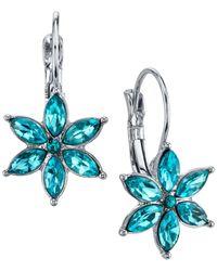 2028 | Metallic Silver-tone Floral Crystal Drop Earrings | Lyst