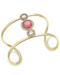 INC International Concepts - Gold-tone Pink Stone And Pavé Openwork Cuff Bracelet - Lyst