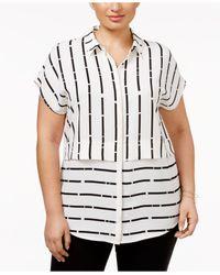 Alfani - Black Plus Size Mixed-stripe Blouse - Lyst