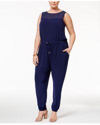Michael Kors   Blue Plus Size Illusion Straight-leg Jumpsuit   Lyst