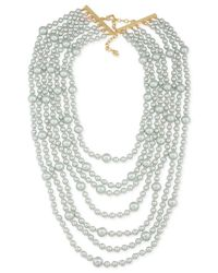 Carolee | Gold-tone Gray Imitation Pearl Multi-row Necklace | Lyst