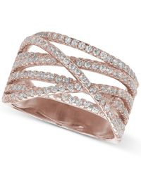 Giani Bernini | Metallic Cubic Zirconia Crossover Ring In 18k Rose Gold-plated Sterling Silver | Lyst
