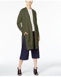 DKNY - Green Open-front Shawl Cardigan - Lyst