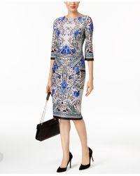 Eci | Blue Long Printed Sheath Dress | Lyst