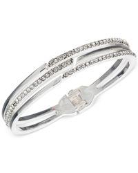 Anne Klein - Metallic Silver-tone Pavé Split Row Bangle Bracelet - Lyst