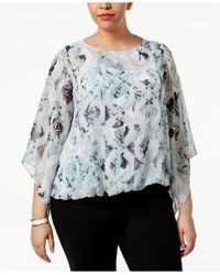 Alfani - Multicolor Plus Size Bell-sleeve Printed Blouse - Lyst