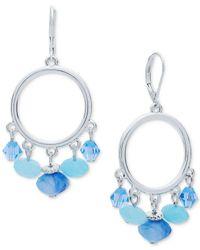 Nine West | Metallic Silver-tone Blue Bead Orbital Drop Earrings | Lyst