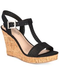 Charles by Charles David | Black Law Strappy Platform Wedge Sandals | Lyst