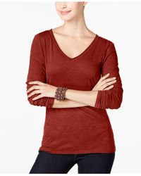 INC International Concepts | Red V-neck Top, Only At Macy's | Lyst