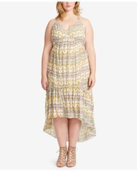 Jessica Simpson | Multicolor Plus Size Printed Flounce-hem Midi Dress | Lyst