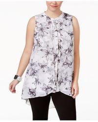 Alfani - White Plus Size Printed High-low Tunic - Lyst