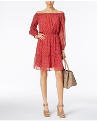 Eci | Red Ditsy-print Off-the-shoulder Peasant Dress | Lyst