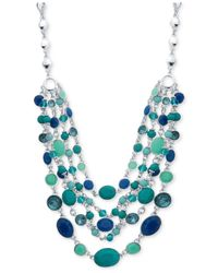 Nine West | Blue Silver-tone 5-row Stone And Crystal Necklace | Lyst