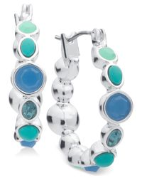 Nine West | Silver-tone Blue Stone Hoop Earrings | Lyst