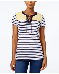 Charter Club - Blue Colorblocked Lace-up Top - Lyst