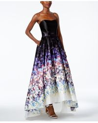 Betsy & Adam Black Strapless High-low Gown
