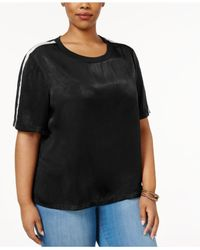 Soprano | Black Trendy Plus Size Sporty Satin T-shirt | Lyst