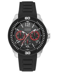 Guess Men's Black Silicone Strap Watch 46mm U0967g1 for men
