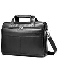 Samsonite Black Leather Laptop Slim Portfolio, Business Brief for men