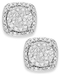 Macy's - Metallic Diamond Cushion Stud Earrings In Sterling Silver (1/3 Ct. T.w.) - Lyst