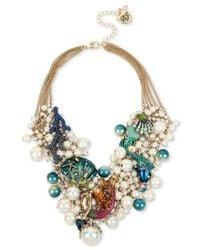 Betsey Johnson   Multicolor Gold-tone Multi-stone Sea Motif Statement Necklace   Lyst