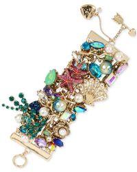Betsey Johnson | Metallic Gold-tone Multi-stone Sea Motif Bracelet | Lyst