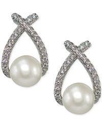 Giani Bernini - Metallic Freshwater Pearl (6-1/2mm) And Cubic Zirconia Drop Earrings In Sterling Silver - Lyst