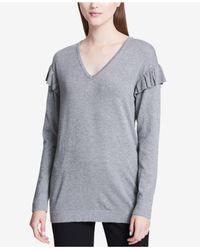Calvin Klein - Gray Ruffled V-neck Sweater - Lyst