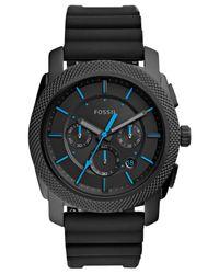 Fossil - Men's Chronograph Machine Black Silicone Strap Watch 45mm Fs5323 for Men - Lyst