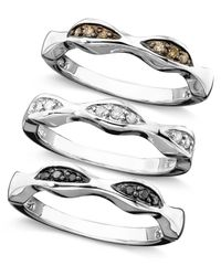 Macy's | Metallic Sterling Silver Rings Set, White, Champagne And Black Diamond Set Of 3 Stackable Rings (1/4 Ct. T.w.) | Lyst