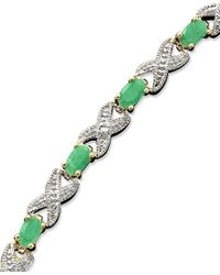 Macy's | Green Victoria Townsend 18k Gold Over Sterling Silver Bracelet, Emerald (3 Ct. T.w.) And Diamond Accent Xo | Lyst