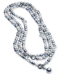 Carolee - Metallic Silver-tone Pavé Ring & Gray Imitation Pearl Convertible Strand Necklace - Lyst