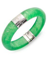 Macy's | Green Sterling Silver Bracelet, Jade Bangle | Lyst