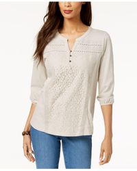 Style & Co. - Multicolor Mixed-lace Peasant Blouse, Created For Macy's - Lyst
