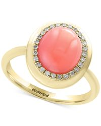 Effy Collection | Metallic Natural Coral (10 X 8mm) & Diamond (1/8 Ct. T.w.) Ring In 14k Gold | Lyst