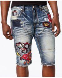 Heritage America Blue Men's Denim Patch Shorts for men