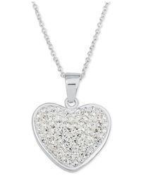 Macy's - Metallic Crystal Pavé Heart Pendant Necklace In Fine Silver-plate - Lyst