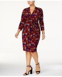 Anne Klein - Red Plus Size Paisley-print Wrap Dress - Lyst