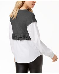 Kensie - Gray Layered-look Sweater - Lyst