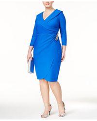 d6505d001e Lyst - Alex Evenings Plus Size Embellished Faux-wrap Sheath Dress in ...
