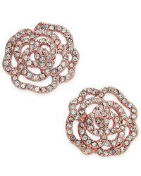 Kate Spade   Metallic Rose Gold-tone Pavé Rose Stud Earrings   Lyst