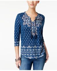 Style & Co. Blue Petite Printed Peasant Top